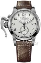 Graham Chronofighter Srebrny/Skóra Ø42 mm