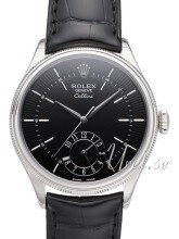 Rolex Cellini Dual Time Czarny/Skóra Ø39 mm